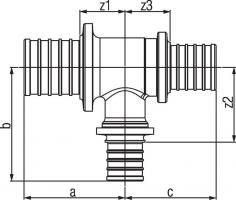 Тройник Rehau Rautitan с уменьш боковым и торцевым проходом 50-32-40 RX