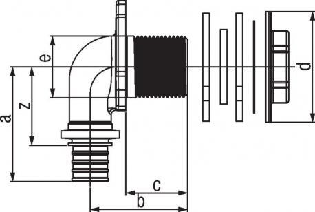 Угольник настенный Rehau Rautitan для ДСП 16-Rp1/2x28 RX