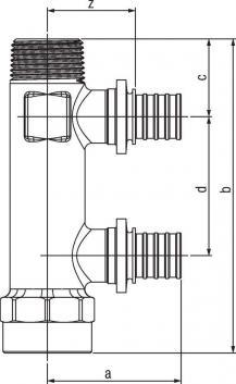 Распределительная гребёнка Rehau Rautitan на 2 трубы R/Rp 3/4-20 RX