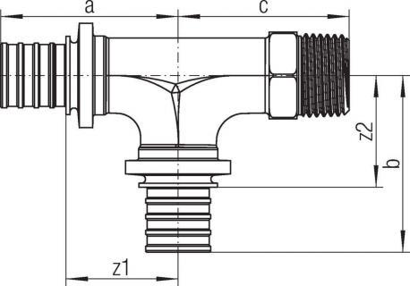 Тройник Rehau Rautitan с наружной резьбой 16-16-R 1/2 RX