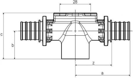 Тройник настенный с внутр резьбой 20-Rp1/2-20 SX